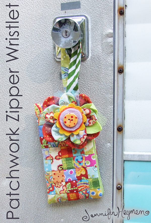 Patchwork Zipper Wristlet Tutorial from Jennifer Jangles