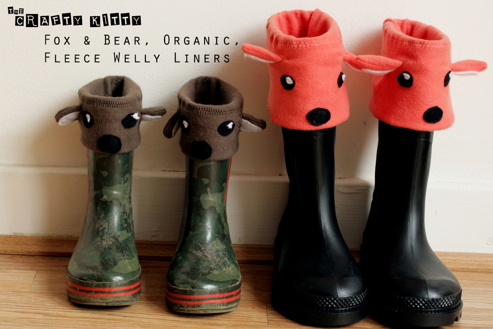 Tutorial: Fox & Bear Fleece Welly Liners  by The Crafty Kitty