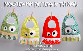 Monster Bib Pattern and Tutorial from Stubbornly Crafty