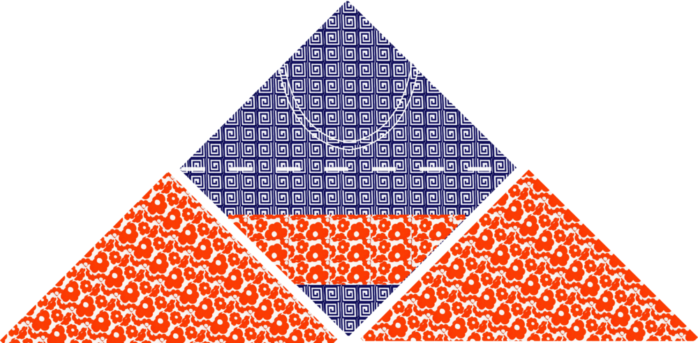 Sew the non-interfaced triangles to the non-interfaced (pocket side) of one square.