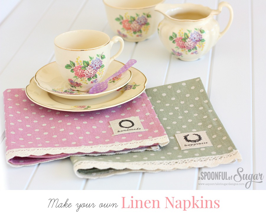 DIY LINEN NAPKINS from A Spoon Full of Sugar