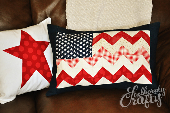 Chevron Flag Pillow Cover from Stubbornly Crafty