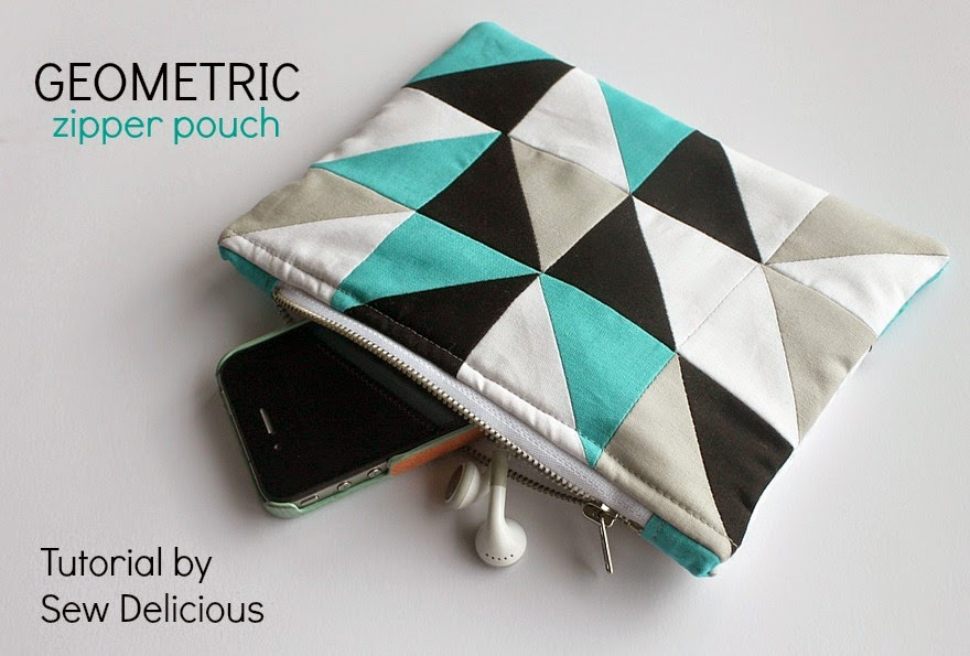 Geometric Zipper Pouch - Tutorial from Sew Delicious