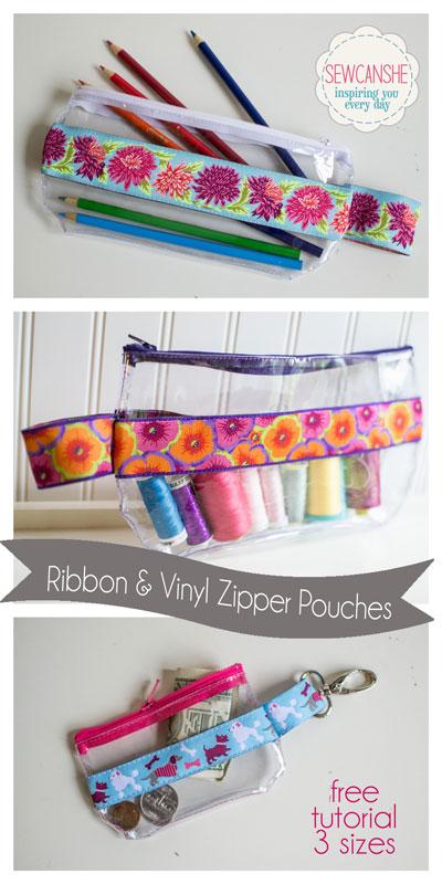Ribbon And Vinyl Zipper Pouches Free Tutorial