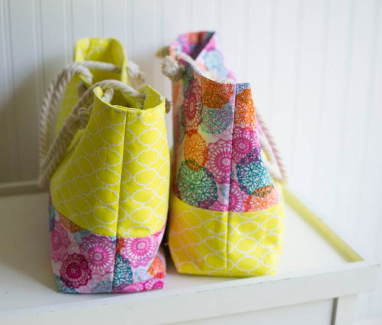 Rope Handled Tote Bag {easy sewing pattern} — SewCanShe   Free ...