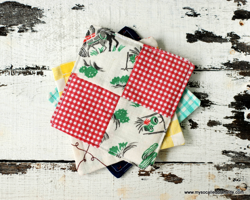 DIY Vintage Scrappy Patchwork Fabric Coasters from My So Called Crafty Life