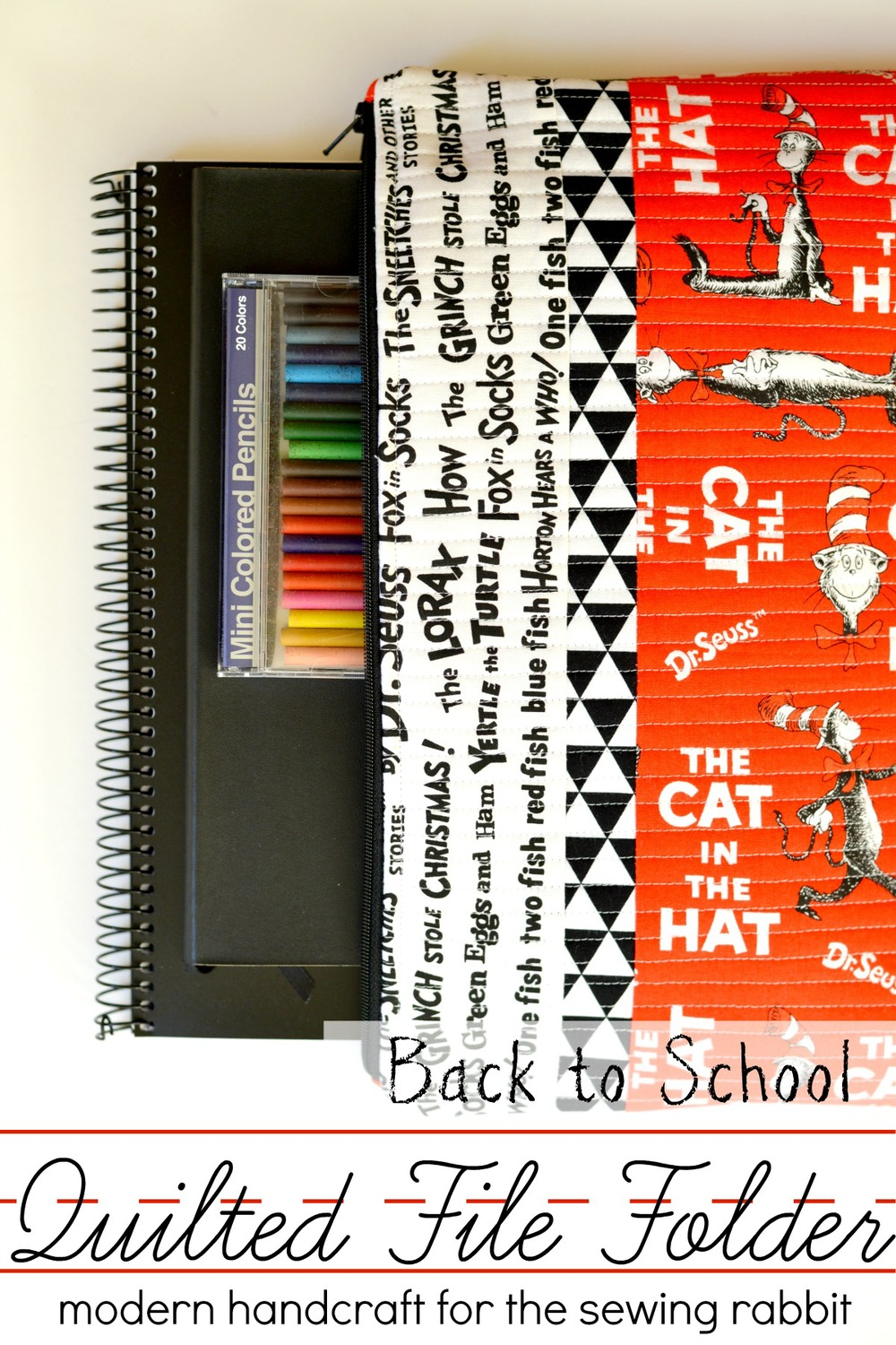 Back to School Quilted File Folder Tutorial from The Sewing Rabbit