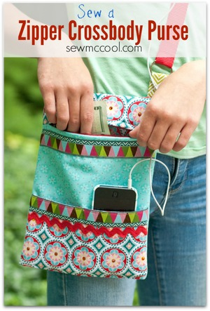 zipper cross body purse by Sew McCool