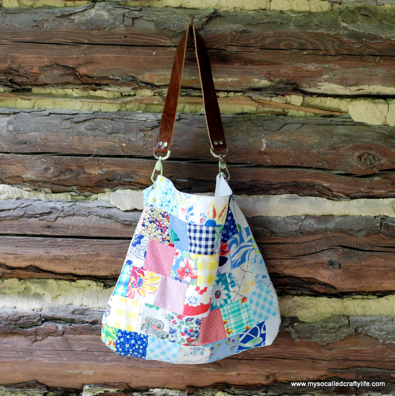 DIY Sweet Vintage Scrappy Patchwork Tote from My So Called Crafty Life