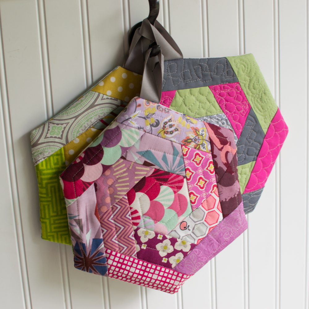 Log Cabin Hexi Potholders A Tutorial With Partial Seams