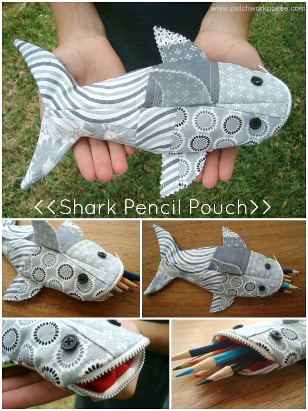 Shark Pencil Case Tutorial from Patchwork Posse