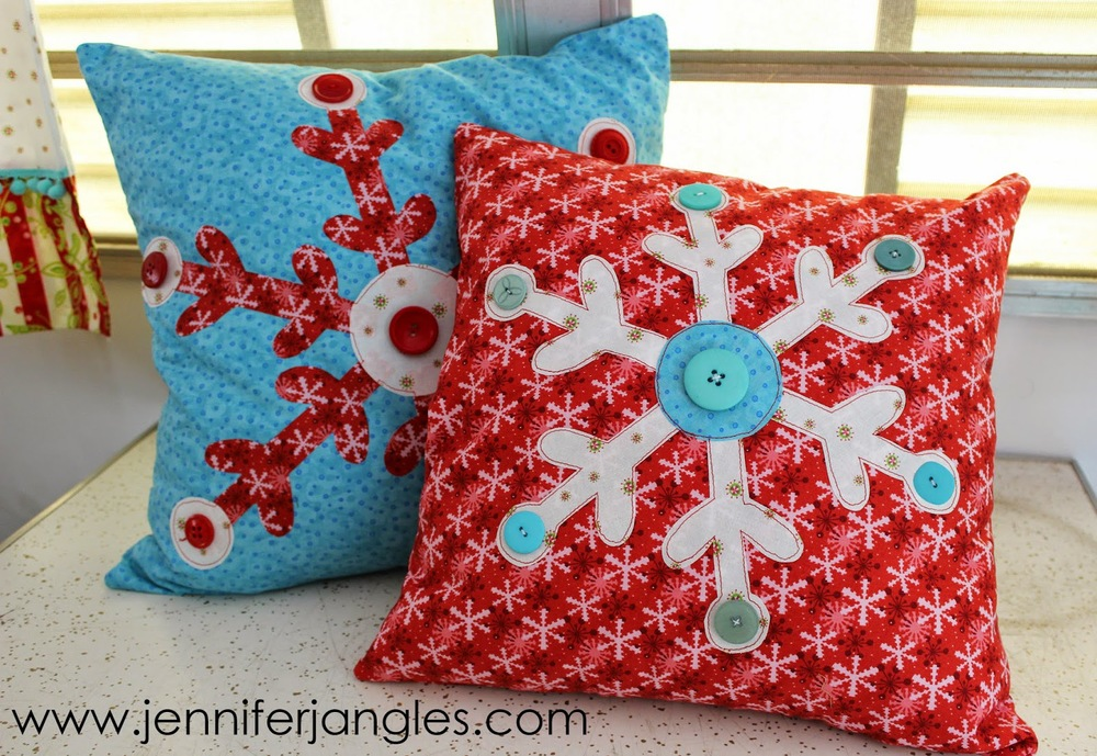 Snowflake Applique Pillows from Jennifer Jangles