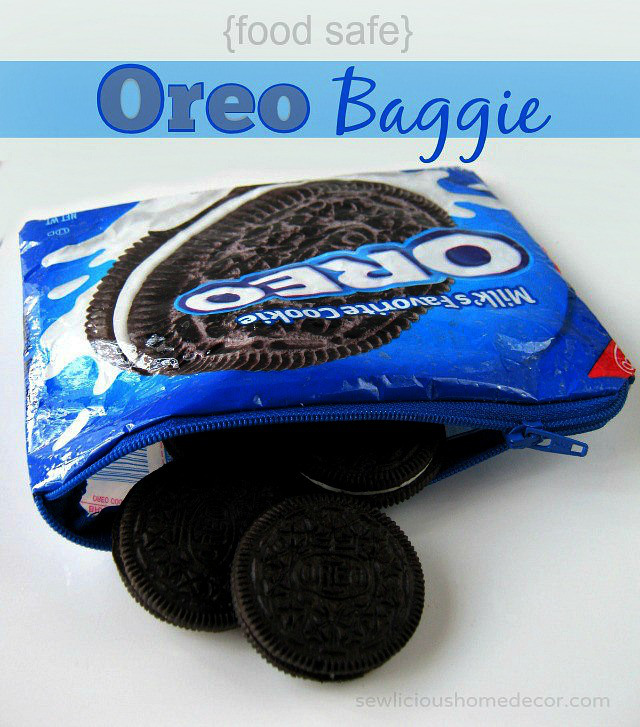 Recycled Food Safe Oreo Cookie Bag to Zipper Bag from Sew Licious Home Decor