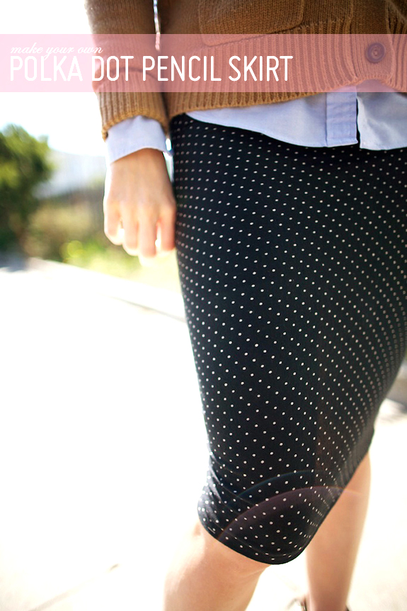 DIY 15 MINUTE POLKA DOT PENCIL SKIRT from Say Yes