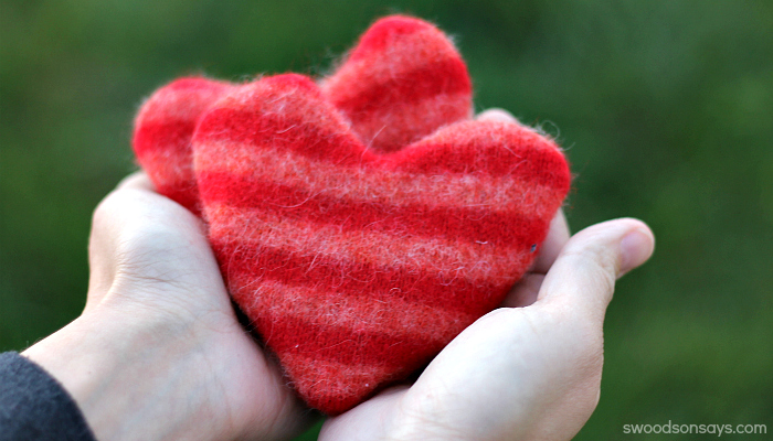 Upcycled Heart Hand Warmers Tutorial from Swodson Says