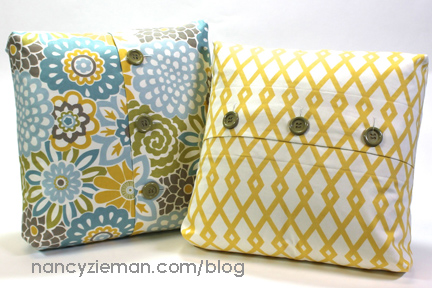 Boxed Corner Buttoned Pillow Tutorial from Nancy Zieman
