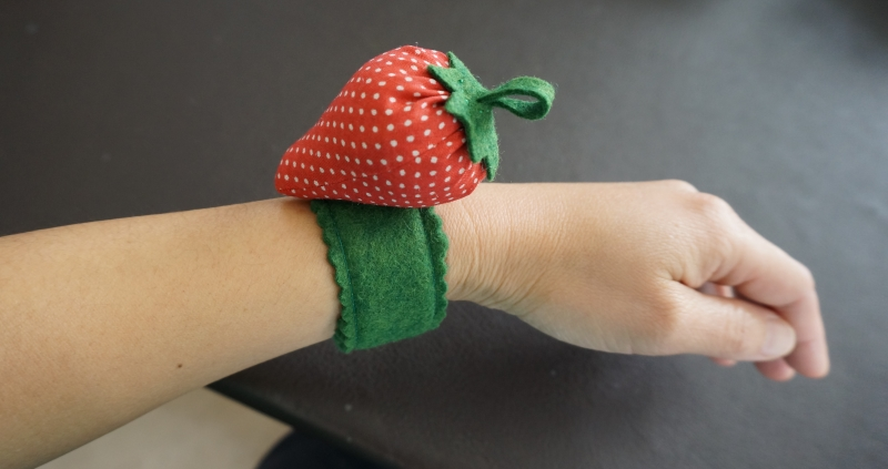 Strawberry Wrist Pincushion from Detective Houndstooth