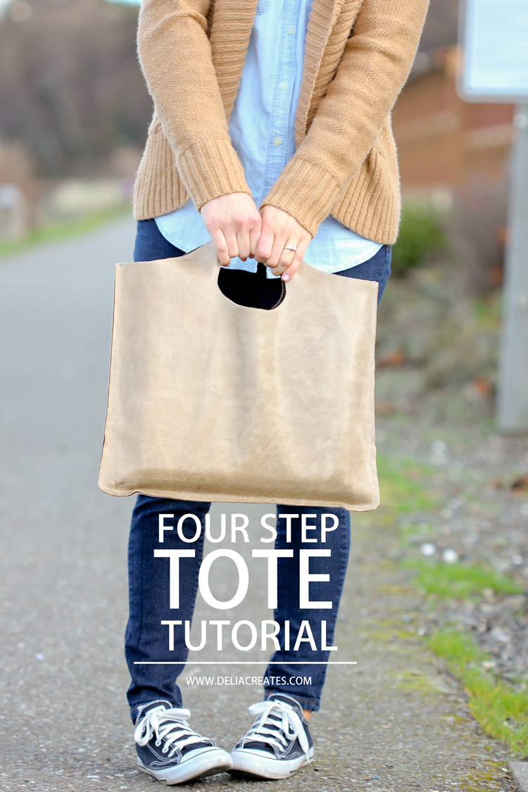 FOUR STEP LEATHER TOTE TUTORIAL from Delia Creates