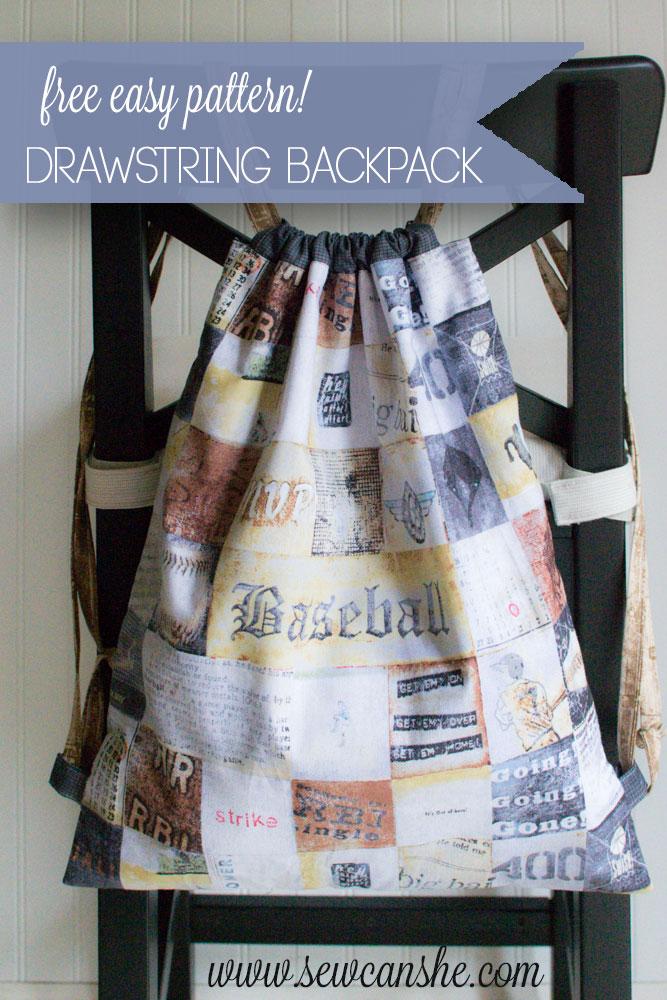 Easy Peasy Drawstring Backpack  free sewing tutorial  — SewCanShe ... 588487b70fd01