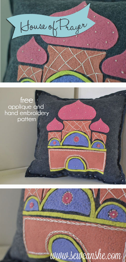 House of Prayer Folk Art Pillow {free applique and hand embroidery ...