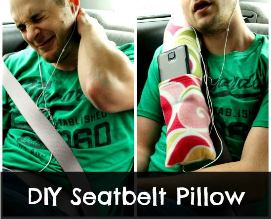 Comfortable road trip car pillow from So Sew Easy