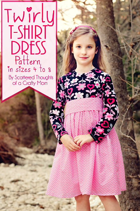 Girl's Twirly T-Shirt Dress Pattern and Tutorial from Scattered Thoughts of a Crafty Mom