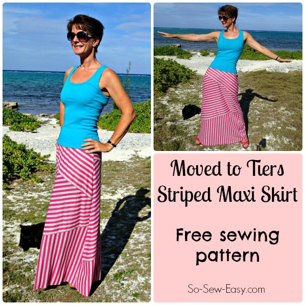 Moved to Tiers striped maxi skirt pattern from So Sew Easy