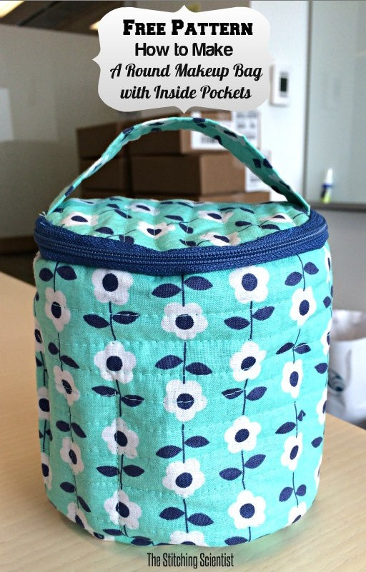 round quilted makeup bag from The Stitching Scientist