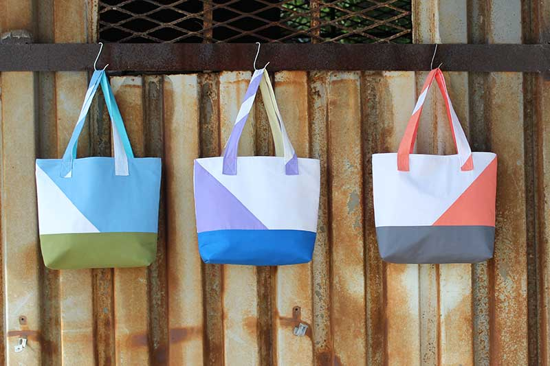 Asymmetrical Color Block Totes Tutorial from Sew mama Sew