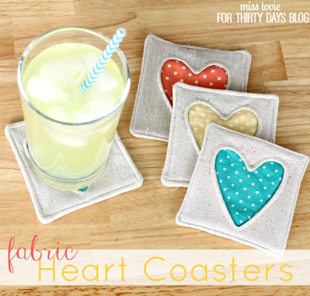 Simple Fabric Heart Coasters Tutorial from Thirty Handmade Days