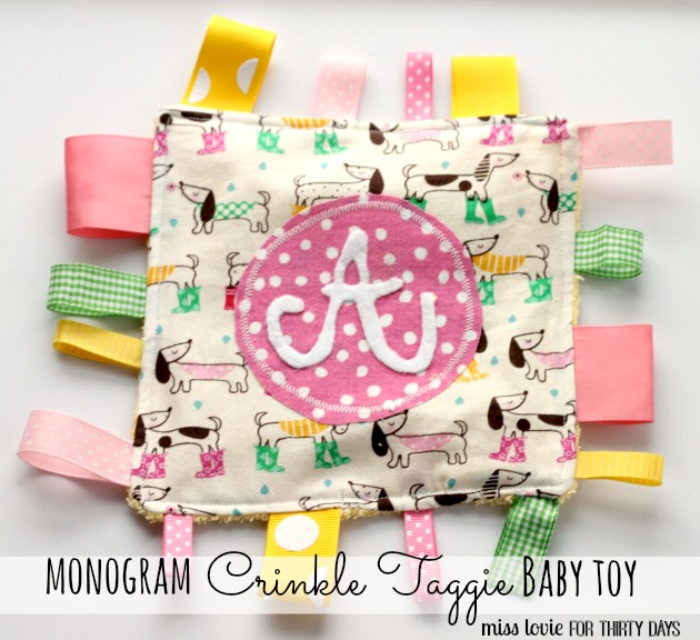 Monogram Crinkle Taggie Baby Toy from Thrifty Handmade Days