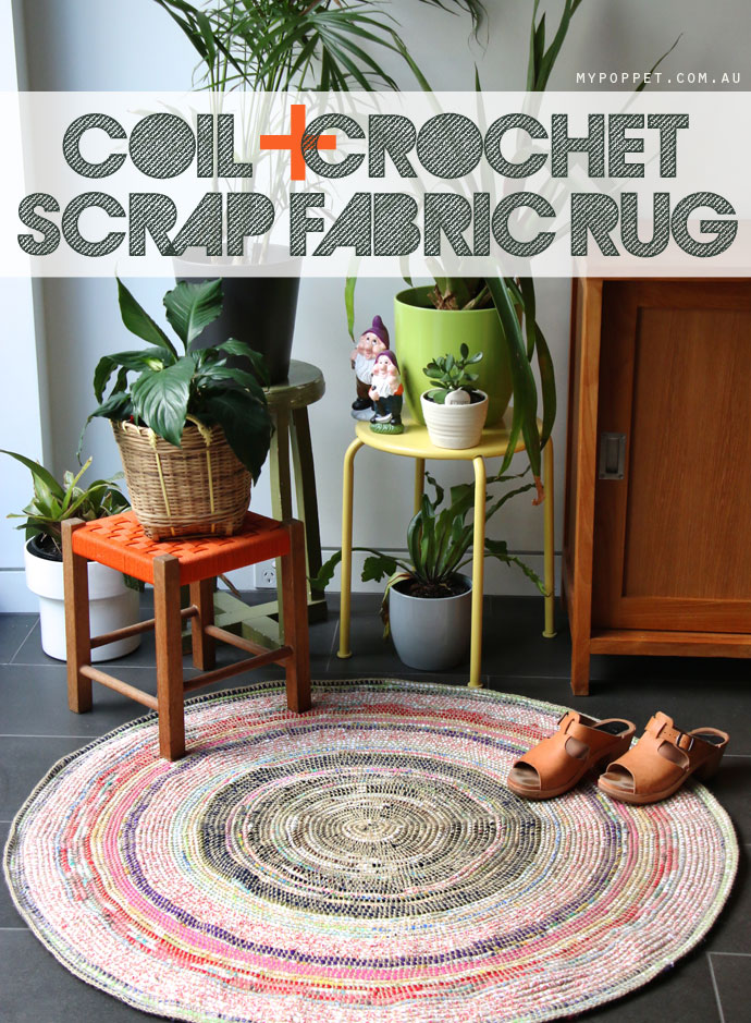 COIL + CROCHET SCRAP FABRIC RUG DIY from My Poppet Makes