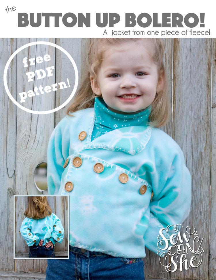 Button Up Bolero - new free pattern for fleece fabrics! — SewCanShe ...