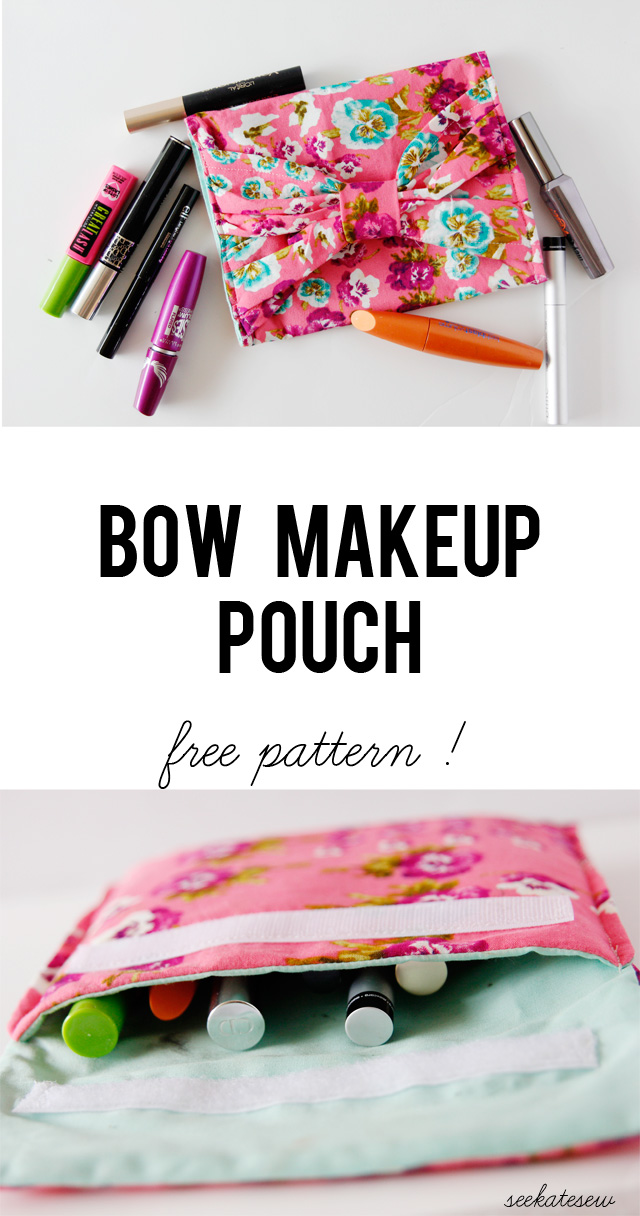 DIY Make Up Bow Pouch from See Kate Sew
