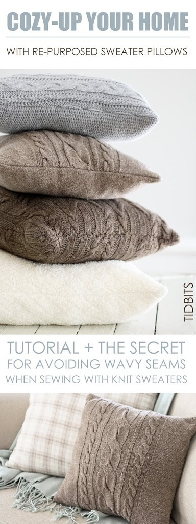 Upcycle Sweater Pillows from Tidbits