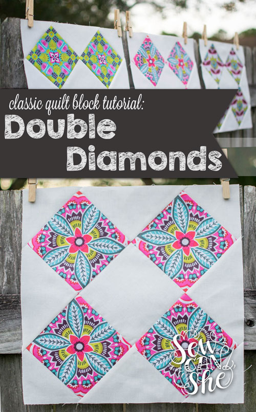 Classic Blocks: Fresh Fabric... The Double Diamonds Quilt Block ... : diamond double quilt pattern - Adamdwight.com