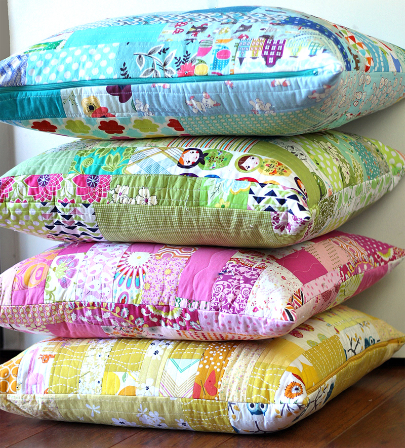 Color Strips Scrap Floor Pillows Tutorial from Sew Mama Sew