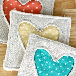 Simple Fabric Heart Coasters  from Thirty Handmade days