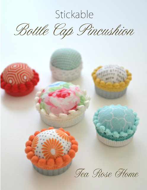 Bottle cap pincushions from Tea Rose Home