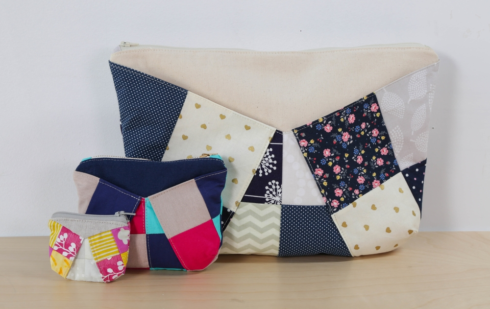 and then patchwork zipper pouches.