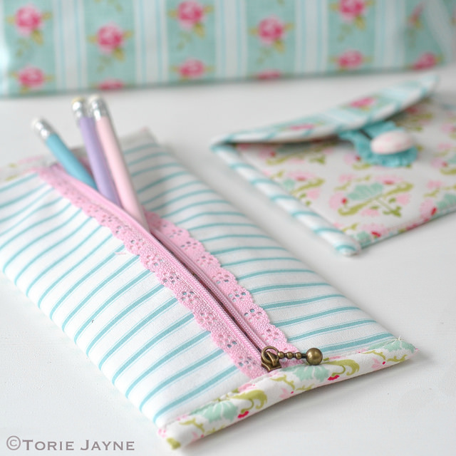 PRETTY LACE ZIP PENCIL CASE from Torie Jayne