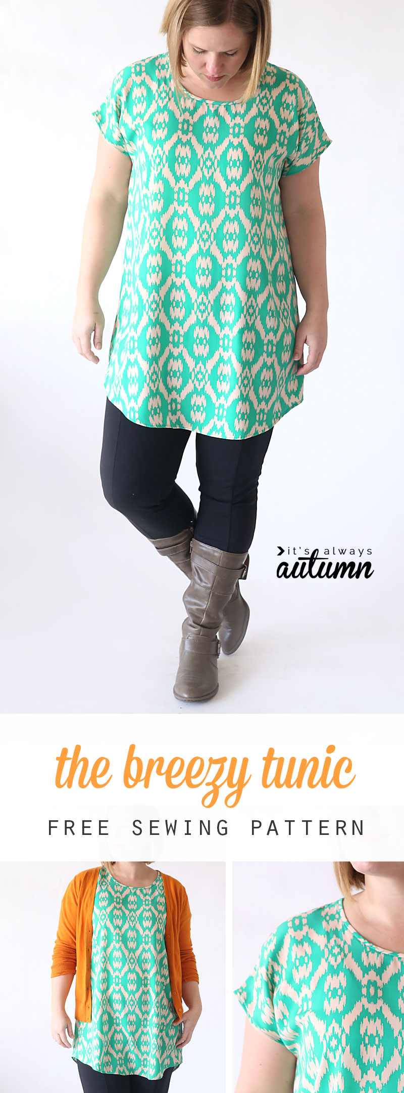 Selfish sewing tutorials and patterns sewcanshe free sewing the breezy tee tunic from its always autumn jeuxipadfo Images