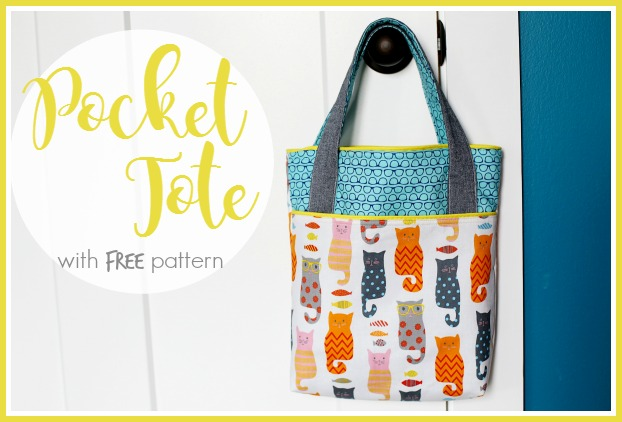 Pocket Tote, Library Bag from Sugar Bee Crafts