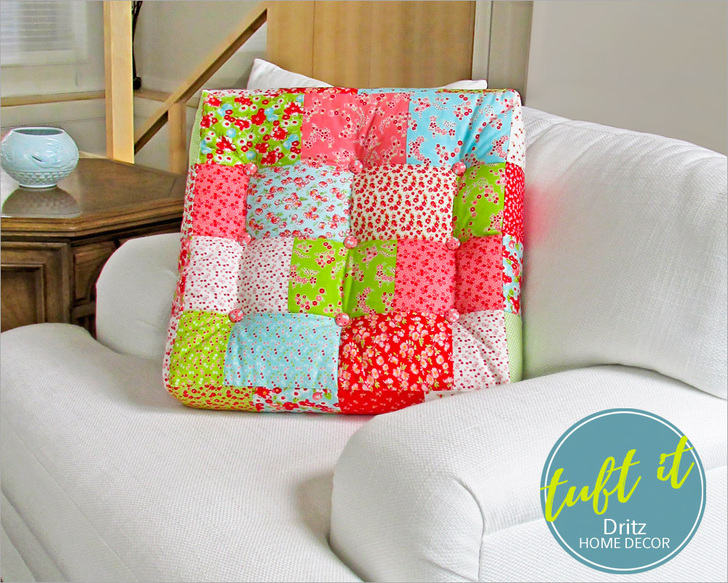 Square Patchwork & Tufted Couch Cushion from Sew 4 Home