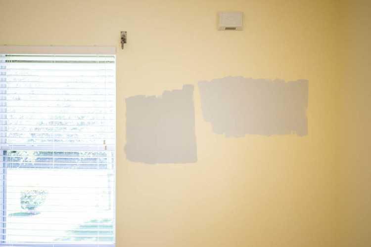 Show off Saturday... Sampling paint colors for my new sewing studio ...