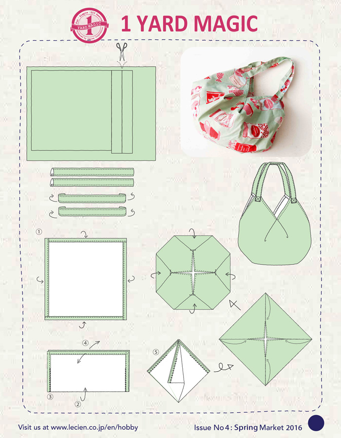 1 Yard Magic Hobo Bag Sewing Pattern from Lecien Fabrics ...