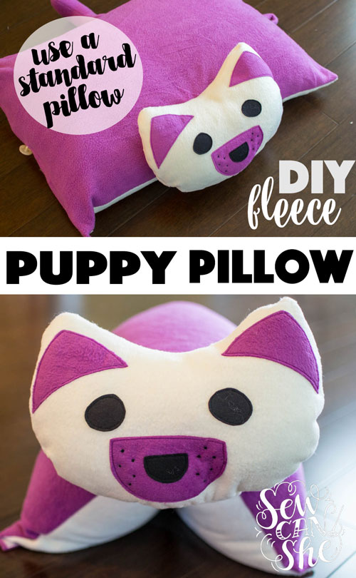 Cute Dog Pillow Beds : DIY Puppy Pillow {free sewing pattern - for a standard bed pillow} ? SewCanShe Free Daily ...