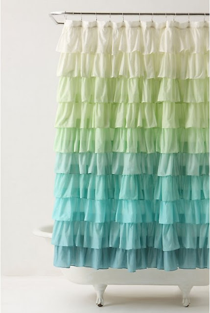 Ruffle shower curtain from Elle Apparel