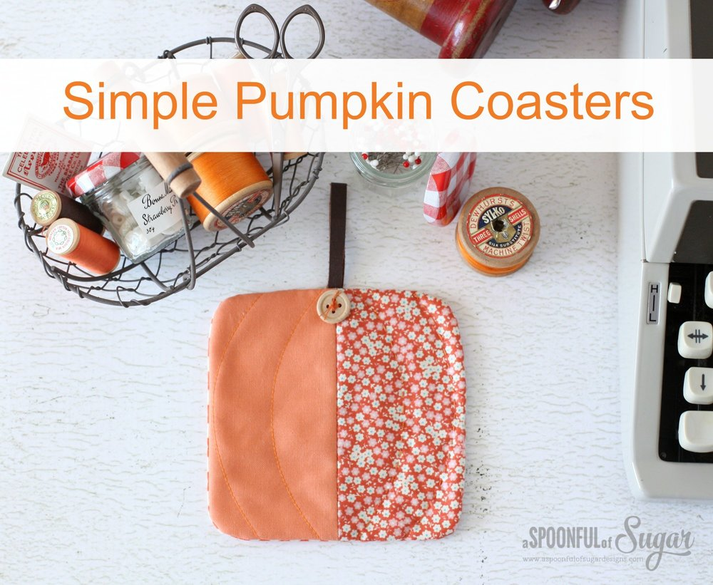 SIMPLE PUMPKIN COASTERS TO SEW from a Spoon Full of Sugar