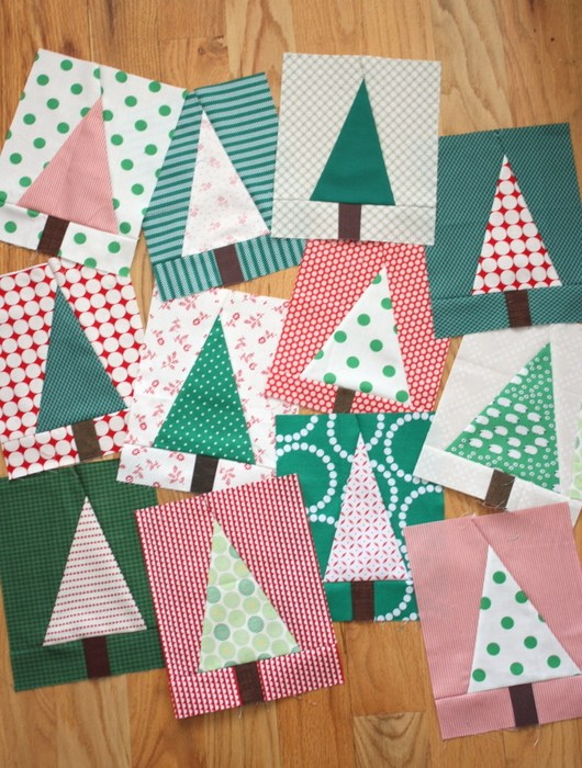 Modern Christmas Tree Quilt Block Tutorial from Diary of a Quilter